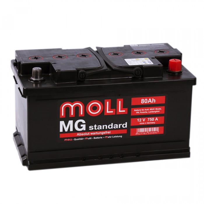 аккумулятор автомобильный MOLL MG STANDART 80RS (низкий) 80 Ач 750 А